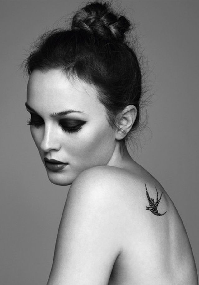 Leighton Meester wearing a jewelled swallow temporary tattooBirds Tattoo, Tattoo Pattern, Leightonmeester, Makeup, Mary Claire, A Tattoo, Shoulder Tattoo, Swallows Tattoo, Leighton Meester