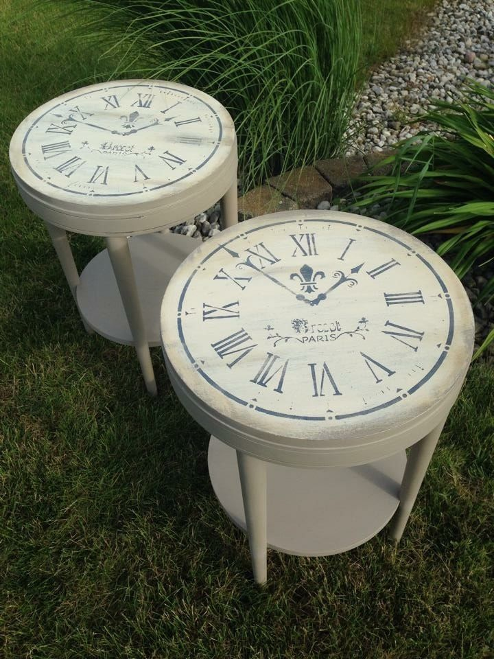 Vintage Clock Face End Table Hand Painted Annie Sloan Paint Coco/Old Ochre in Home & Garden, Furniture, Tables | eBay