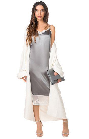 Платье-комбинация с атласным блеском I-QU / 2000000103013