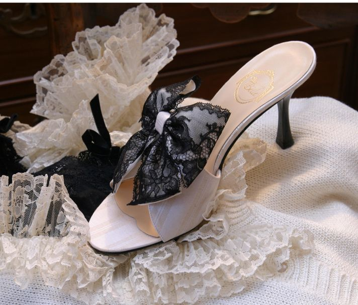 """Clair de Lune"" - ivory striped jacquard, black Chantilly lace on ivory satin doble bow http://store.leshaussonsdelabelle.com"