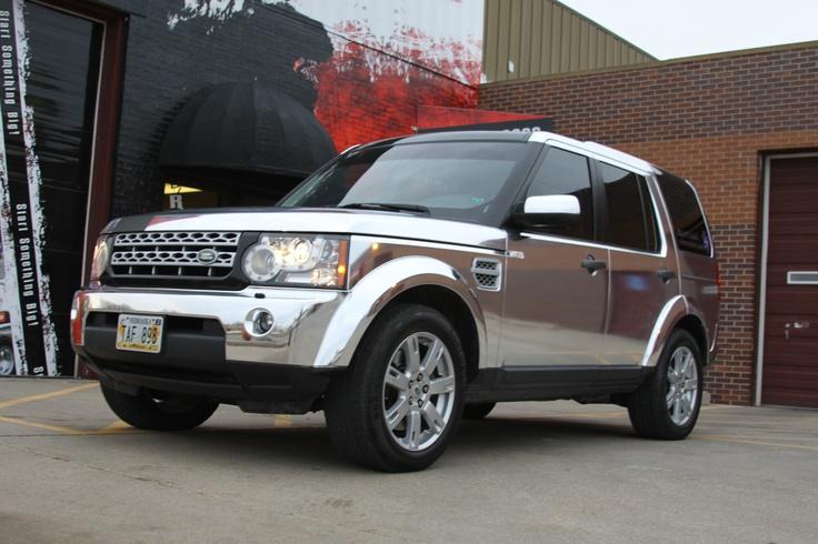 Chrome Vinyl Wrap On A Lr4 Land Rover By Revolution Wraps