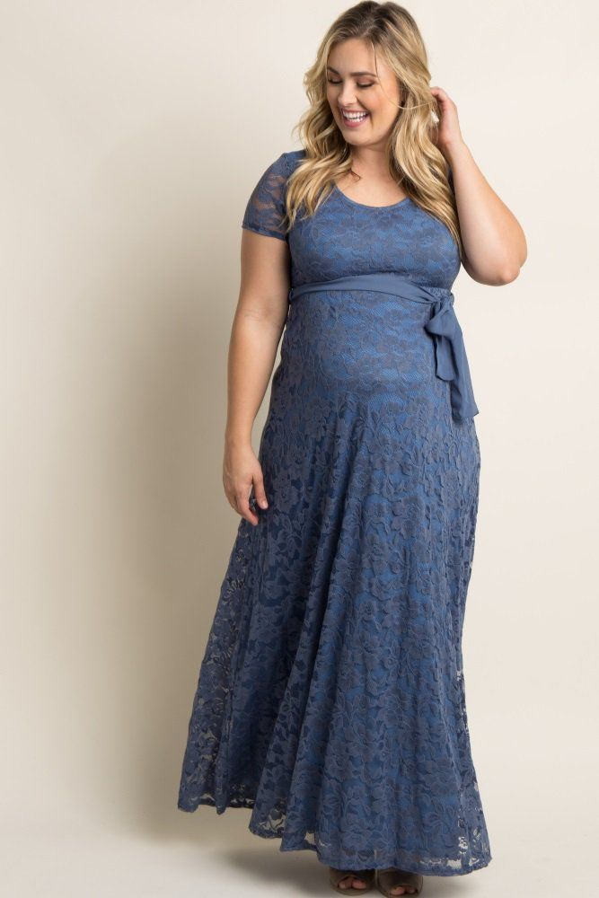 d4e6bc890888e Pink Lace Sash Tie Plus Maternity Dress   Dress   Plus size ...