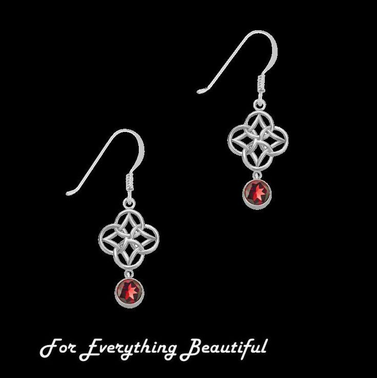 For Everything Genealogy - Red Garnet Endless Celtic Knotwork Sterling Silver Earrings , $110.00 (http://foreverythinggenealogy.mybigcommerce.com/red-garnet-endless-celtic-knotwork-sterling-silver-earrings/)