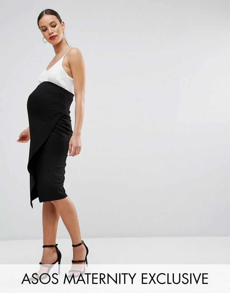 ASOS Maternity Over The Bump Wrap Midi Skirt - Black