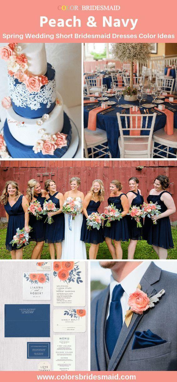 2019 spring wedding color ideaspeach and navy, short