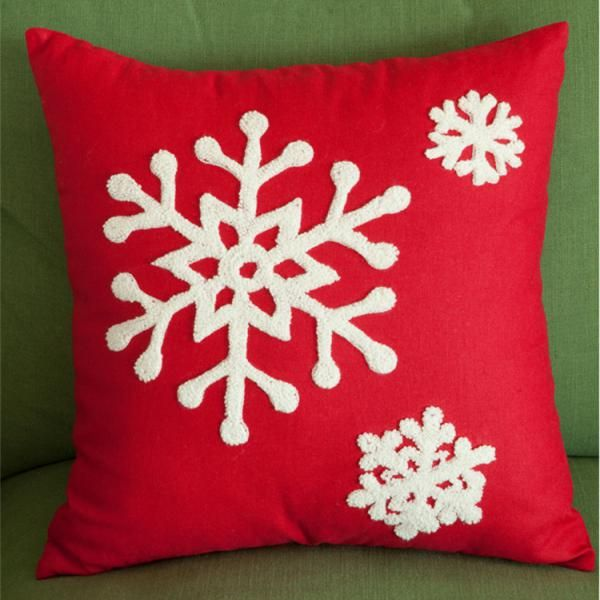 Snowflake Embroidered Pillow Cover Christmas Red Sofa Cushion Covers