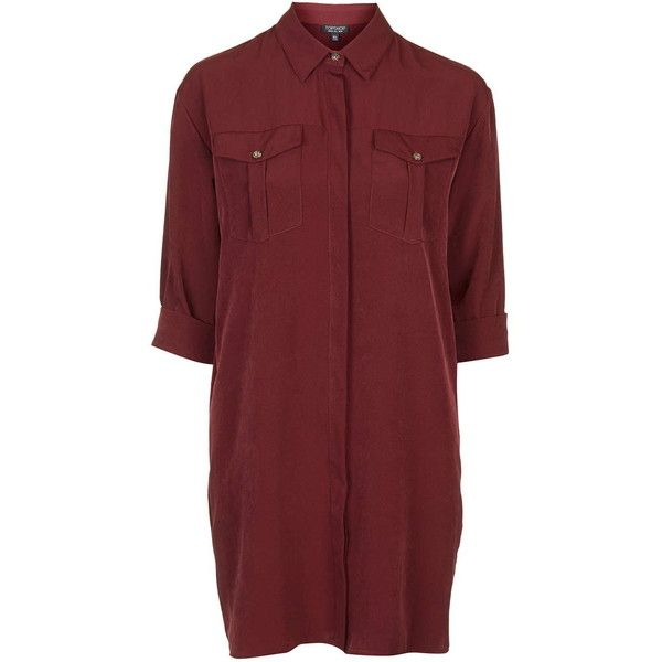 TOPSHOP Oversized Cupro Shirt-Dress (£49) ❤ liked on Polyvore featuring dresses, short dresses, shirts, wine, shirt-dress, wine red dress, long red shirt dress, red dress and topshop dresses