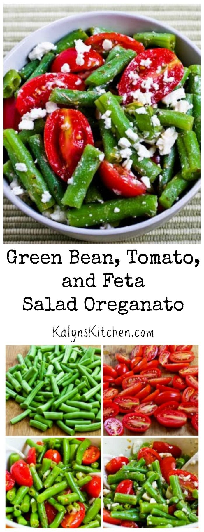 When you have fresh garden beans and tomatoes, you can't beat the flavors in this Green Bean, Tomato, and Feta Salad Oreganato. This will wow your guests at a summer holiday party or pot-luck! #LowCarb #GlutenFree #SouthBeachDiet [from KalynsKitchen.com]