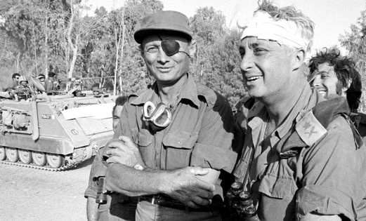 """Gen. Moshe Dayan (eye patch) and Gen. Ariel """"Arik"""" Sharon during the 6-Day War in 1967. Dayan, a legendary figure in Israel, went on to become defense and foreign minister. Sharon became the 11th PM of Israel. A highly controversial figure he has been in persistent vegetative state after suffering a stroke in January 2006."""