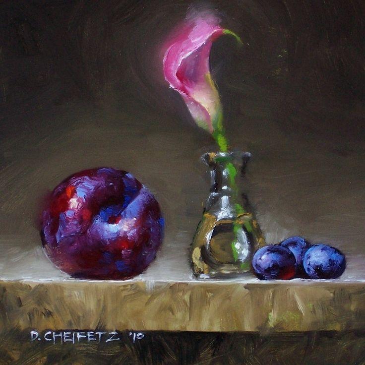 Lily & Plum by David Cheifetz Oil ~ 6 x 6