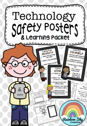 Technology Safety Posters and Activity Packet. Activities in this pack focus on key safety factors when working online, cyberbullying and how to take care of hardware at school. Tasks include opportunities for class discussion, student collaboration, self reflection and creative skills. ~ Rainbow Sky Creations ~