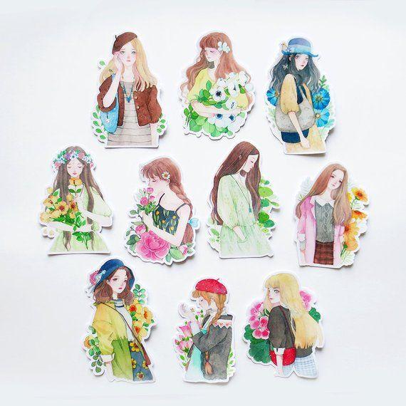 Planner Stickers Flower Stickers Flower Girls Pack: Vinyl stickers| Kawaii Sticker Cute Die Cut Stickers Flower Girl Cute stickers
