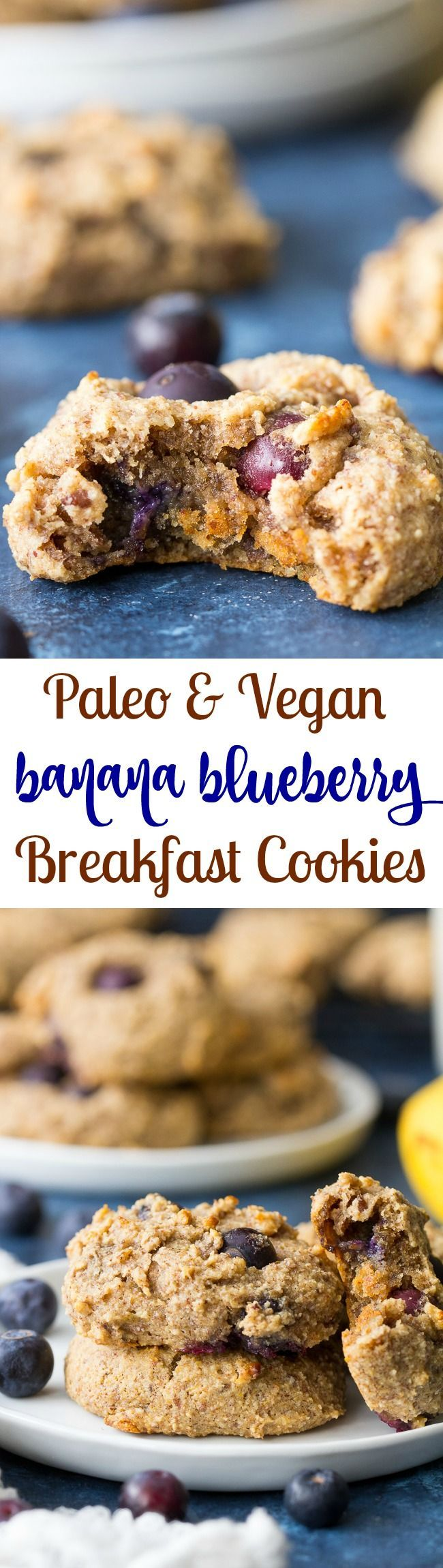 These banana blueberry breakfast cookies are perfectly chewy and irresistible with just the right amount of sweetness! Perfect to go with breakfast or as an afternoon snack. They're gluten free, grain free, vegan and Paleo friendly.