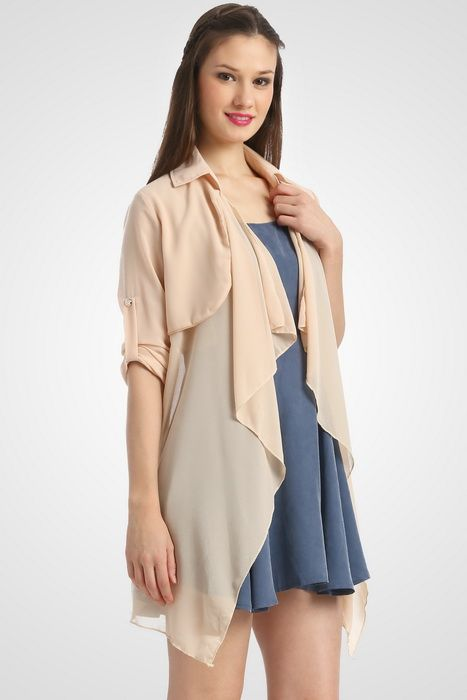 Semi sheer open front waterfall cardigan by Misty Fox that features basic collar and long sleeve styling with button cuff closure. http://www.zocko.com/z/JJVpI