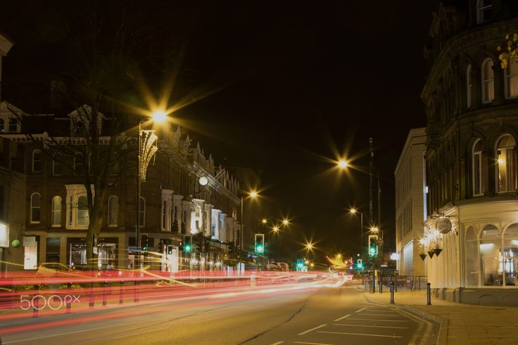Harrogate Town at Night. - Busy traffic at night pictured Harrogate,North Yorkshire,UK.