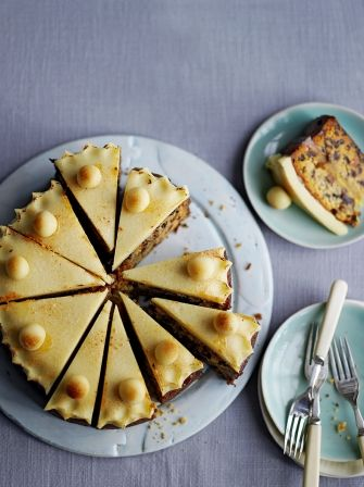 Whisky Simnel Cake - Perfect with a cup of tea on #Easter weekend -- This fruitcale with a marzipan layer is a traditional Easter bake that never fails to please a crowd. The fruit needs to be soaked in whisky overnight, but it's definitely worth the wait. : jamieoliver