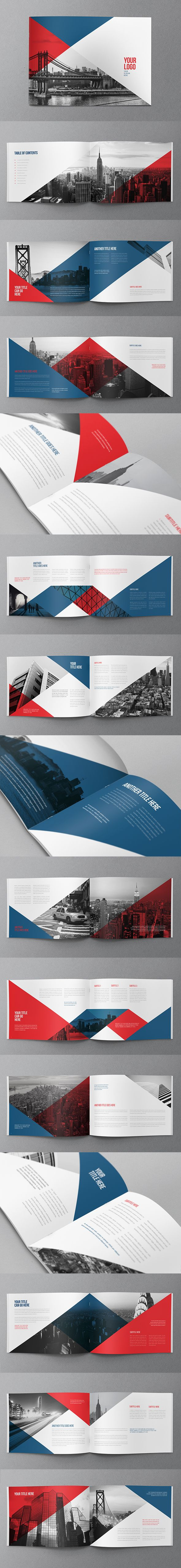 Modern design, angles across spreads |||| Modern American Brochure. Download here: http://graphicriver.net/item/modern-american-brochure/11454850?ref=abradesign #brochure #design