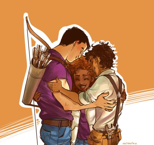 frank zhang hazel levesque leo valdez. I love how they are acting like a family in this photo.