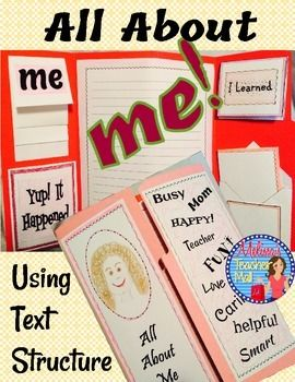 """Narrative Writing, Personal Narrative: All About Me. Here's a twist on All About Me. Have students write a Narrative piece """"All About Me"""" using a different text structure for each paragraph. Students will use a series of graphic organizers and then write an All About Me paragraph for each text structure."""