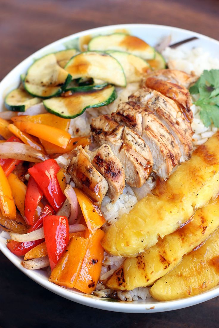 Grilled Hawaiian Chicken Teriyaki Bowls on MyRecipeMagic.com