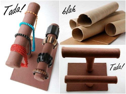 DIY Jewelry Stands made from paper towel rolls.. who would have thought? (http://blah-to-tada.blogspot.com/2010/06/craft-fairs-jewelry-displays.html)