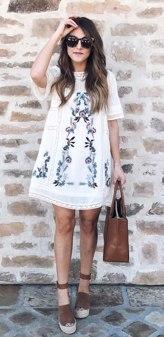 Embroidered midi dress