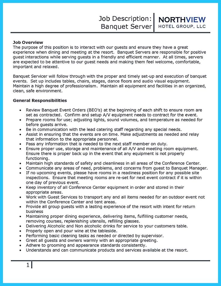 resume examples banquet server