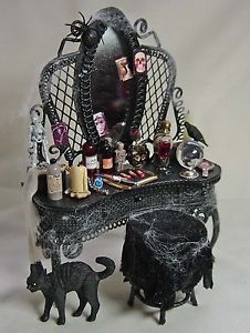 Dolls house miniature Black Vampyra / Witch Filled Dressing Table
