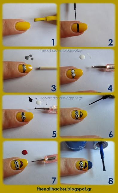DIY - minions nail art tutorial