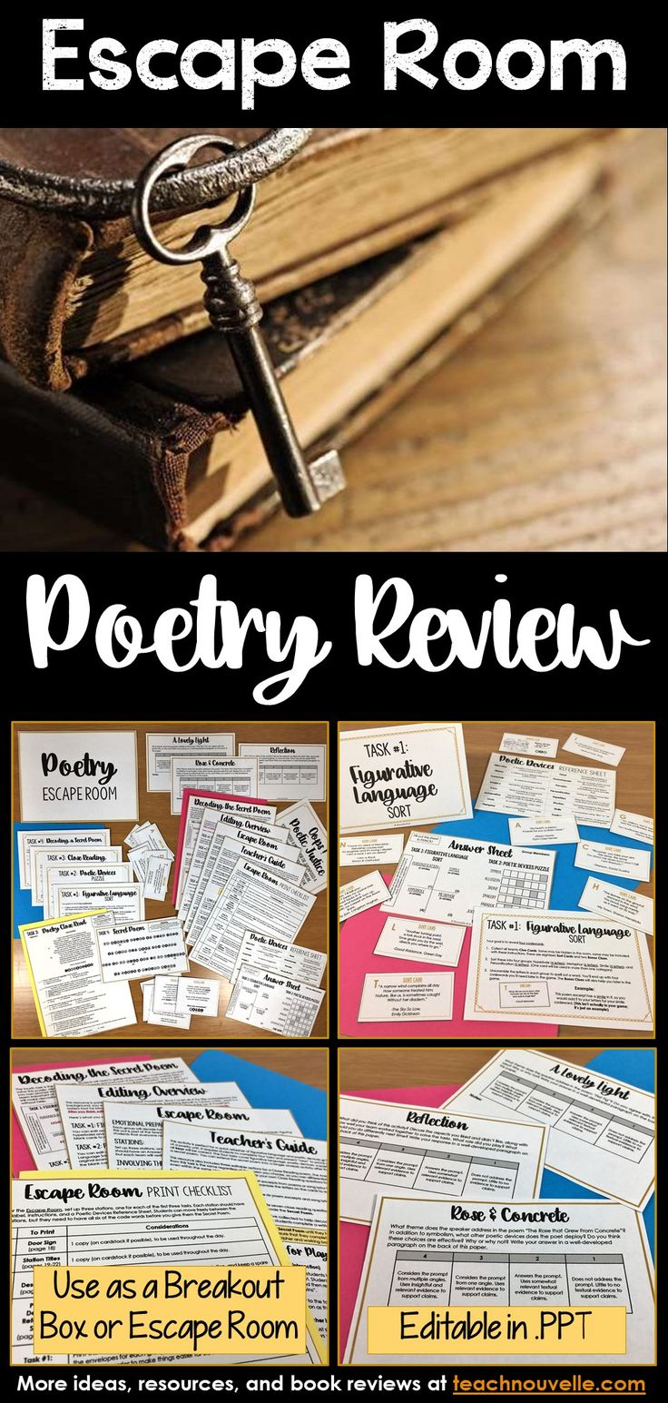 This EDITABLE Poetry Escape Room has a Figurative Language Sort, Poetic Devices Puzzle, Close Reading activity, and a secret poem. You can present this as a Breakout Box (groups work at their desks) or as an Escape Room (groups seek clues you've hidden in the classroom). It has been designed to take 40-50 minutes. This resource includes a complete Teacher's Guide (set-up, printing checklist, differentiation), extension activities, and an Answer Key. (grades 7-12)