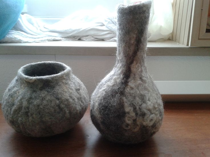 two vessels made from gotland wool 2013- Geskea Andriessen