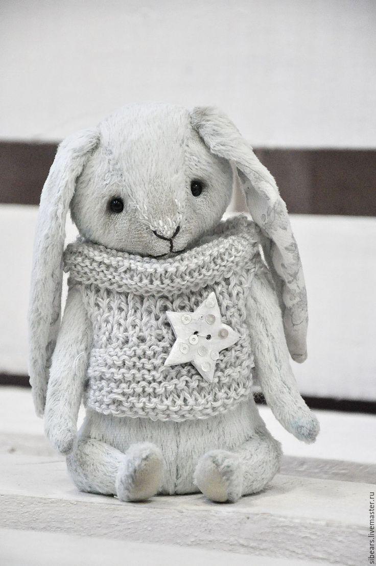 Купить Роджер - голубой, заяц, тедди, зайчик, вискоза Германия, глаза стеклянные, опилки древесные