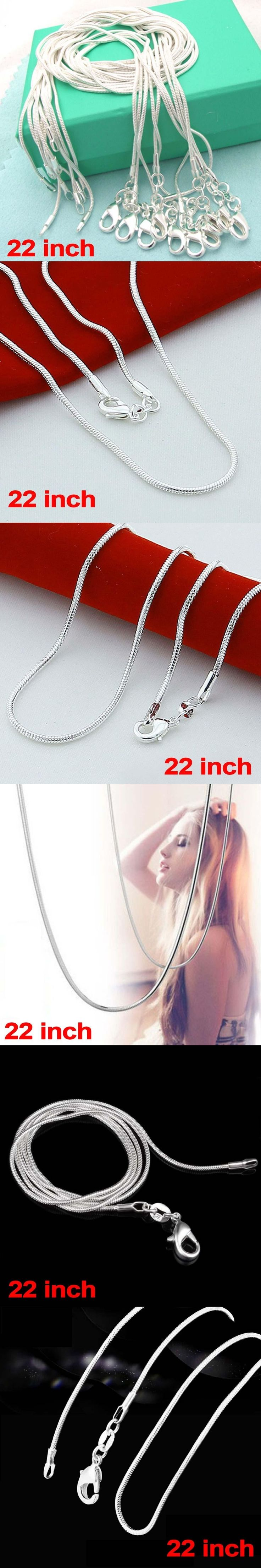 Fashion 925 Sterling Solid Silver lots 1mm Snake Chains Necklaces 22 inch NEW silver jewelry cheap necklaces