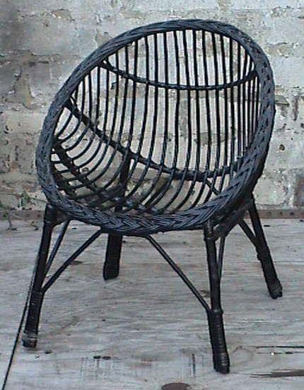 Vintage Retro Home Round Child S Childs Cane Wicker Bedroom Chair Circa  Doll Teddy Black