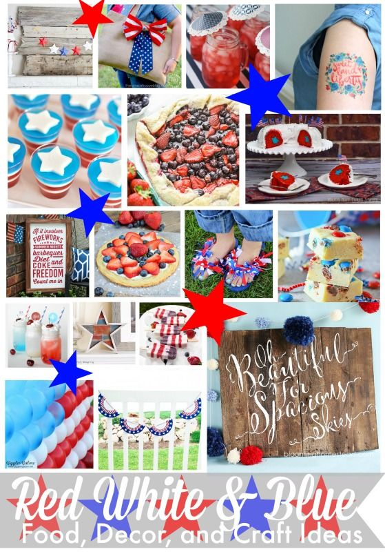 Red White and Blue Food Decor and Craft IdeaSome of the top bloggers have gotten together to make this blog hop with 4th of July themed food, crafts, design, and DIY projects. I did a tutorial for a simple 4th of July themed ribbon garland. It is very simple to make and adds a lot to your patriotic decor!s