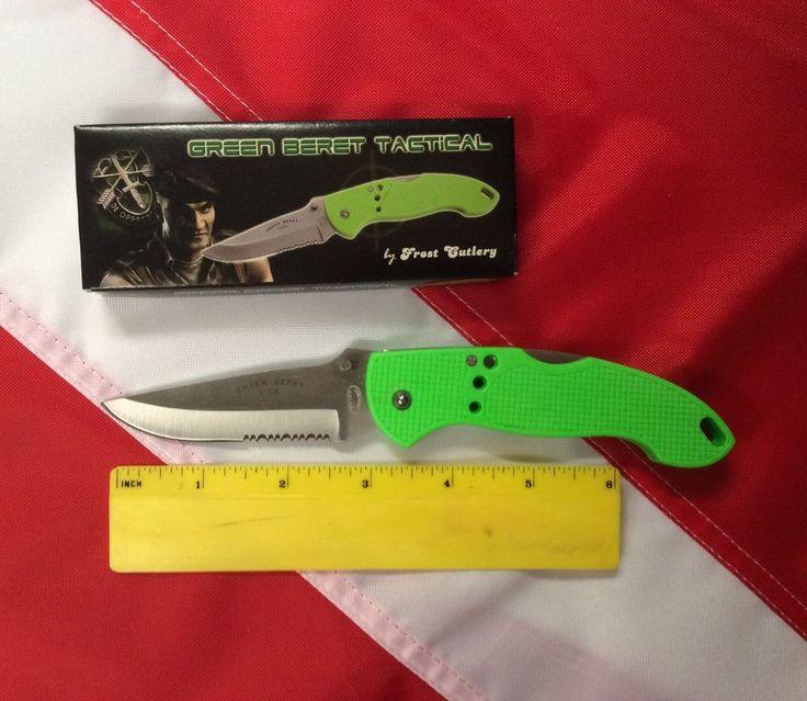 Green Beret Tactical Knife SS Lockback emergency lightweight pocket bug out bag #GreenBeretTactical