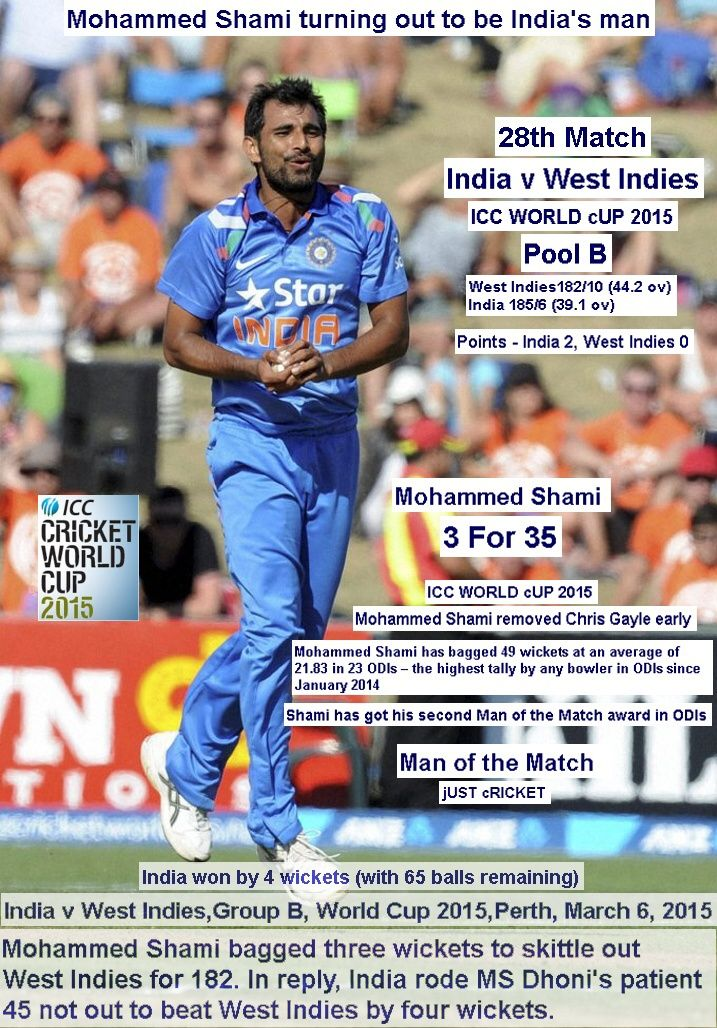 ICC WORLD cUP 2015:  India v West Indies,Group B, World Cup 2015,Perth,  March 6, 2015  Mohammed Shami turning out to be India's man