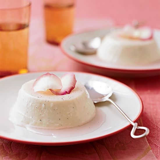 Creamy Rose Panna Cotta | Food & Wine - We have Rose Petal Syrup from the Ancient Romanengo Factory in Rome! http://www.italianharvest.com/product/romanengo-rose-petal-syrup
