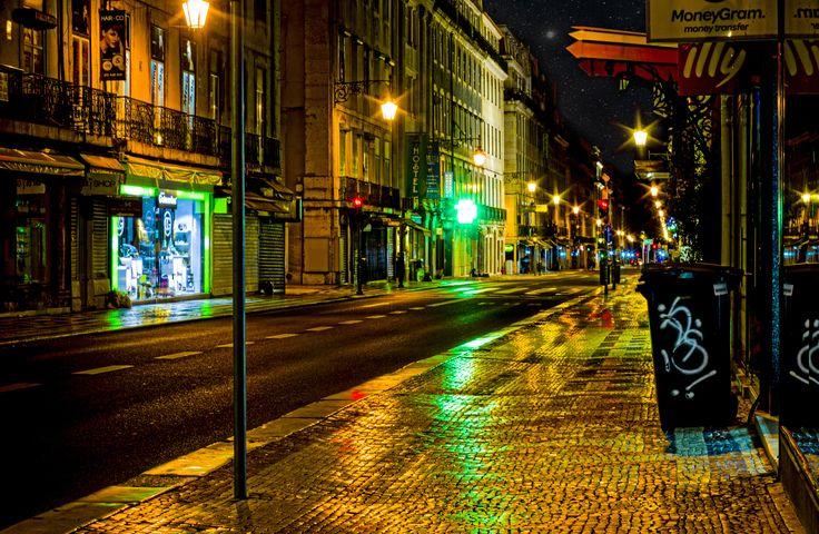 Rua Augusta - Lisbon Street by Night by Jakub Hajost on 500px