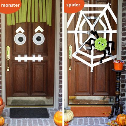Halloween Door Décor - Not sure if the duct tape would hurt the door, maybe another kind of tape? Cute way for the kids to dress up the front door though.