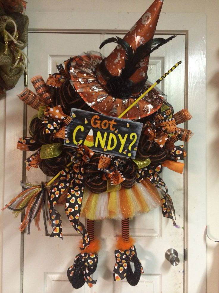 Candy Corn Halloween Witch Wreath by HighMaintenanceDes on Etsy, $150.00