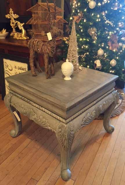 End table in Paris Grey chalk paint and a graphite wash,