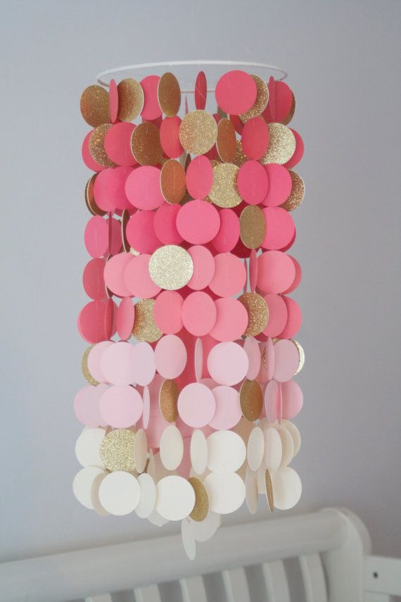 Coral and Gold Paper Crib Mobile by FourGlitteredGeese on Etsy, $52.00