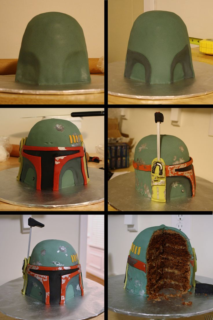 Boba Fett Cake:  Step 3 - cover with fondant, layer on the different colors and paint metal details using luster dust and lemon extract.