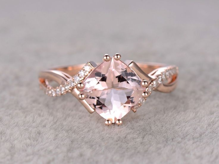 2.4 Carat Cushion Cut Morganite Engagement Ring Diamond Promise Ring 14k Rose Gold Split Shank Infinity Twisted Curved #cushioncutengagementrings
