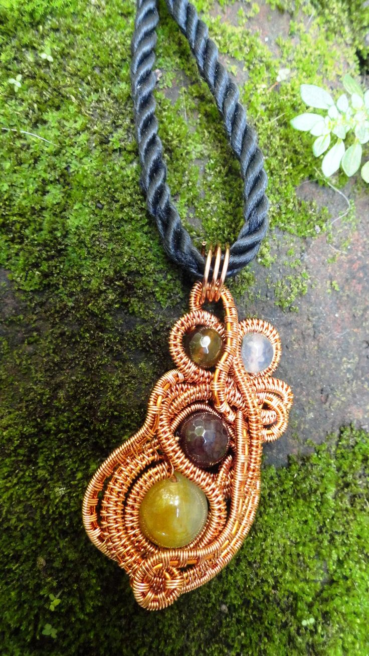 #wire_jewelry #stone_beads #copper_wire #pendant  #agate_beads #pearl_beads #white_stone