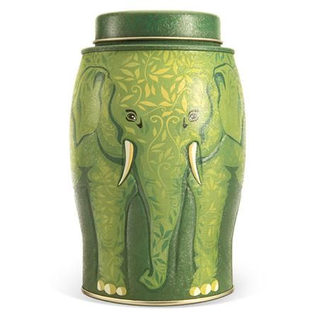 Williamson Tea Large Elephant Caddy Green Nature Pure Green Tea 40 Teabags- I just want the tin!