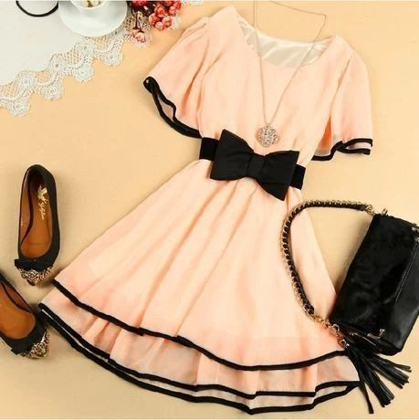 Bat Sleeve Multicolor Chiffon Bow Short Sleeve Dress