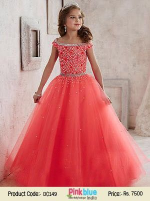 Modern Fairy Look in this Exquisite Red Princess Ball Gown Party Dress for Little Girls Online at PinkBlueIndia.com
