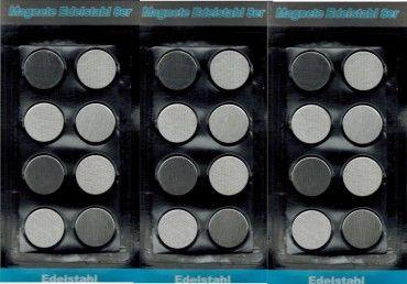 Magnete Edelstahl runde Form Ø 2,5 cm für Kühlschrank Memotafel oder Flipchart 24 Stück